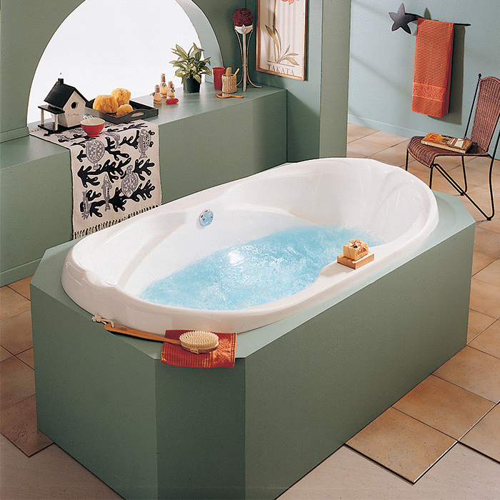 Alcove marguerite podium bathtub for Alcove bathtub dimensions
