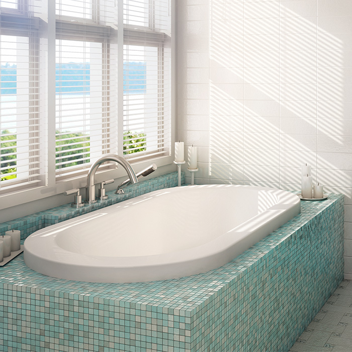 Alcove tulipe podium bathtub for Alcove bathtub dimensions