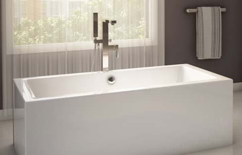 Alcove wisteria r freestanding bathtub for Alcove bathtub dimensions
